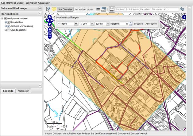 Screenshot - Selecting a print extent