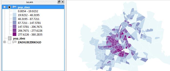 Vorschau Bevölkerungszahlen und -dichte in Wien nach Zählbezirken