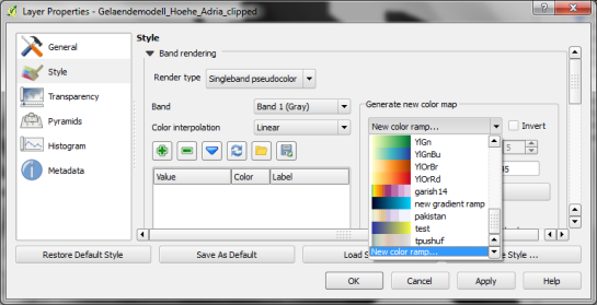 "Start by selecting the ""new color ramp"" option in the raster's style window."