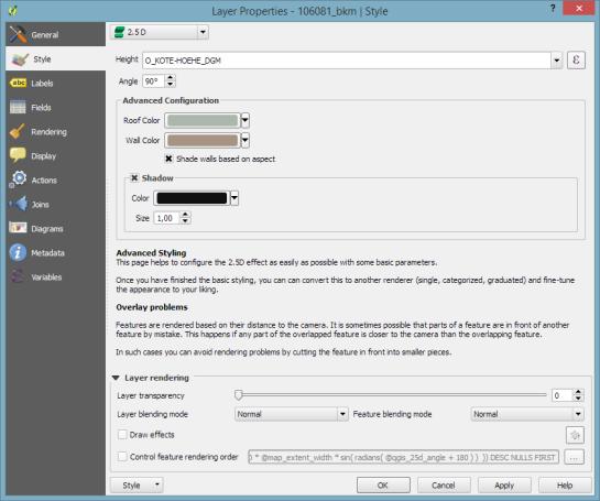 QGIS 2.5D renderer settings