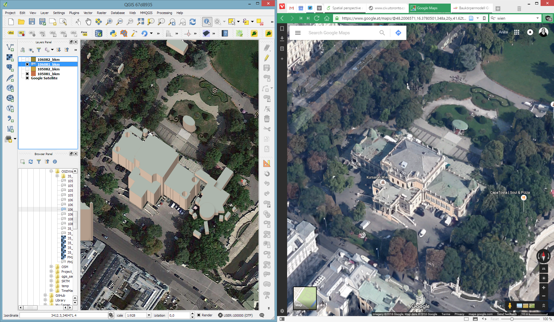 Qgis plugins planet qgis 25d renderer and view in google maps gumiabroncs Gallery