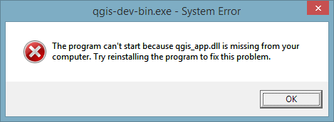 The program can't start because qgis_app.dll is missing from your computer. Try reinstalling the program to fix the problem.