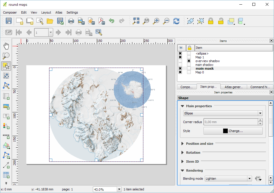 How to create round maps in Print Composer | Free and Open Source