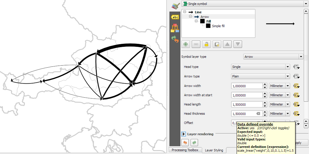 Drawing Lines Qgis : Details of good flow maps free and open source gis ramblings