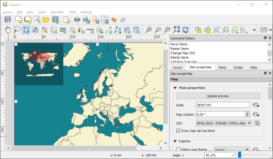 Qgis plugins planet as you can see the red overview frame in the upper left corner is curved to correctly represent the extent of the main map gumiabroncs Gallery