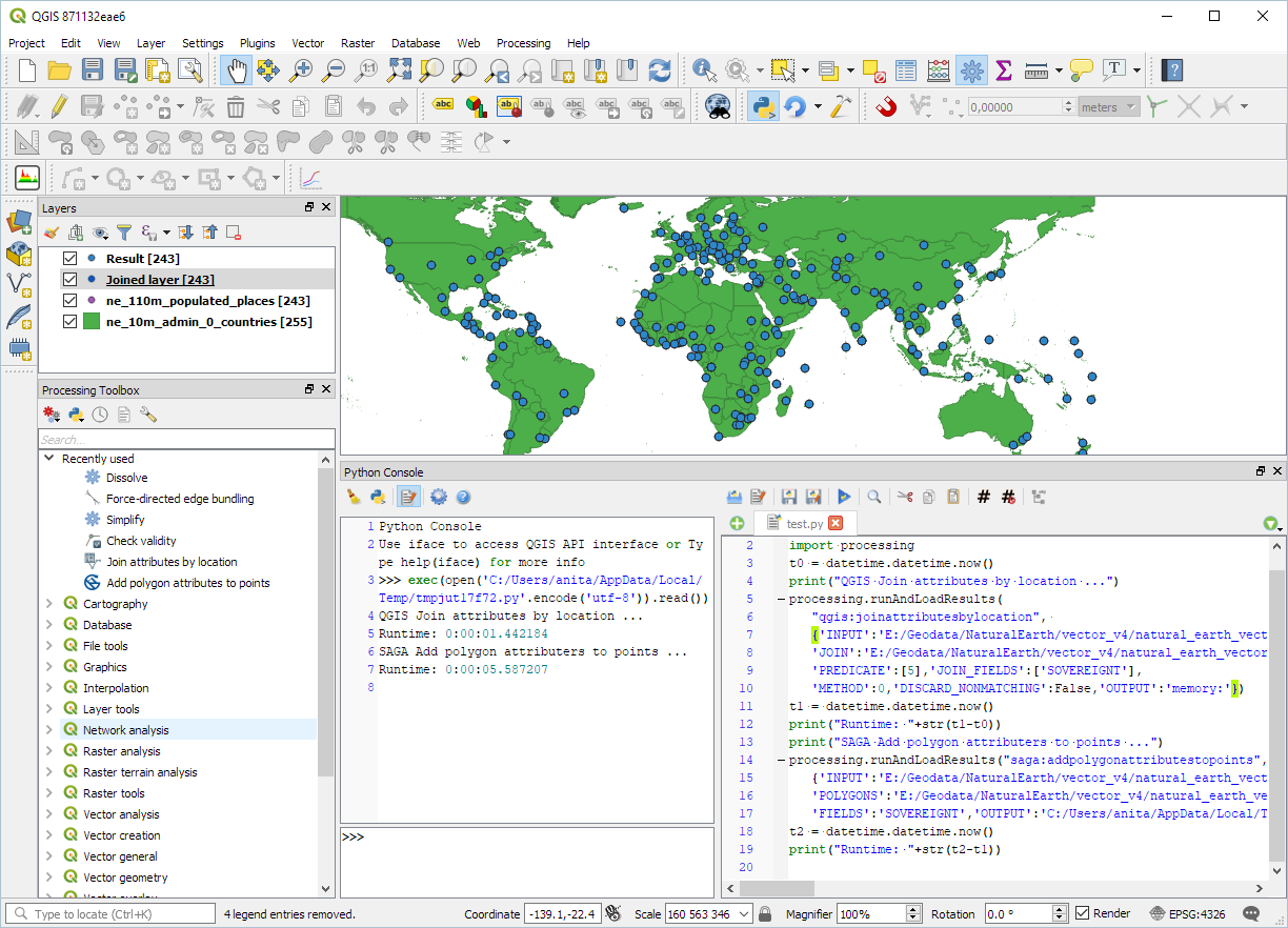 Qgis free and open source gis ramblings in both tools only the countries sovereignt attribute is joined to the point attribute table baditri Images